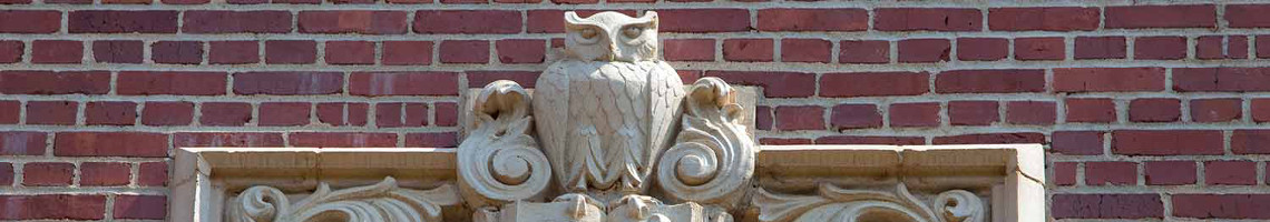 Architectural embellishment of owl on building at FSU